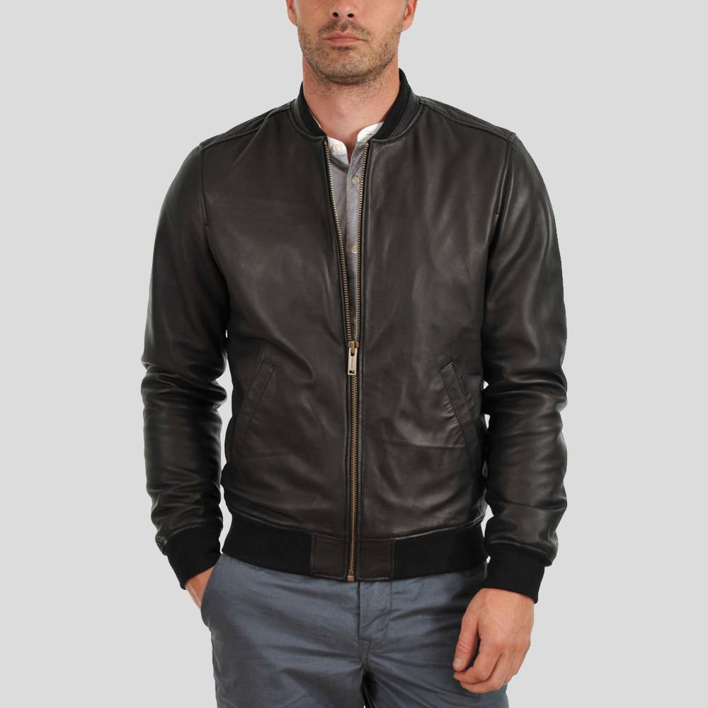 bomber leather jacket hera black 1