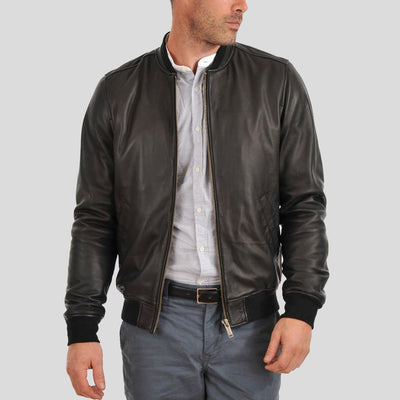 bomber leather jacket hera black 2