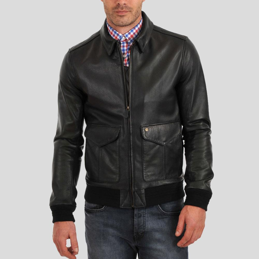 kingston black bomber leather jacket 1