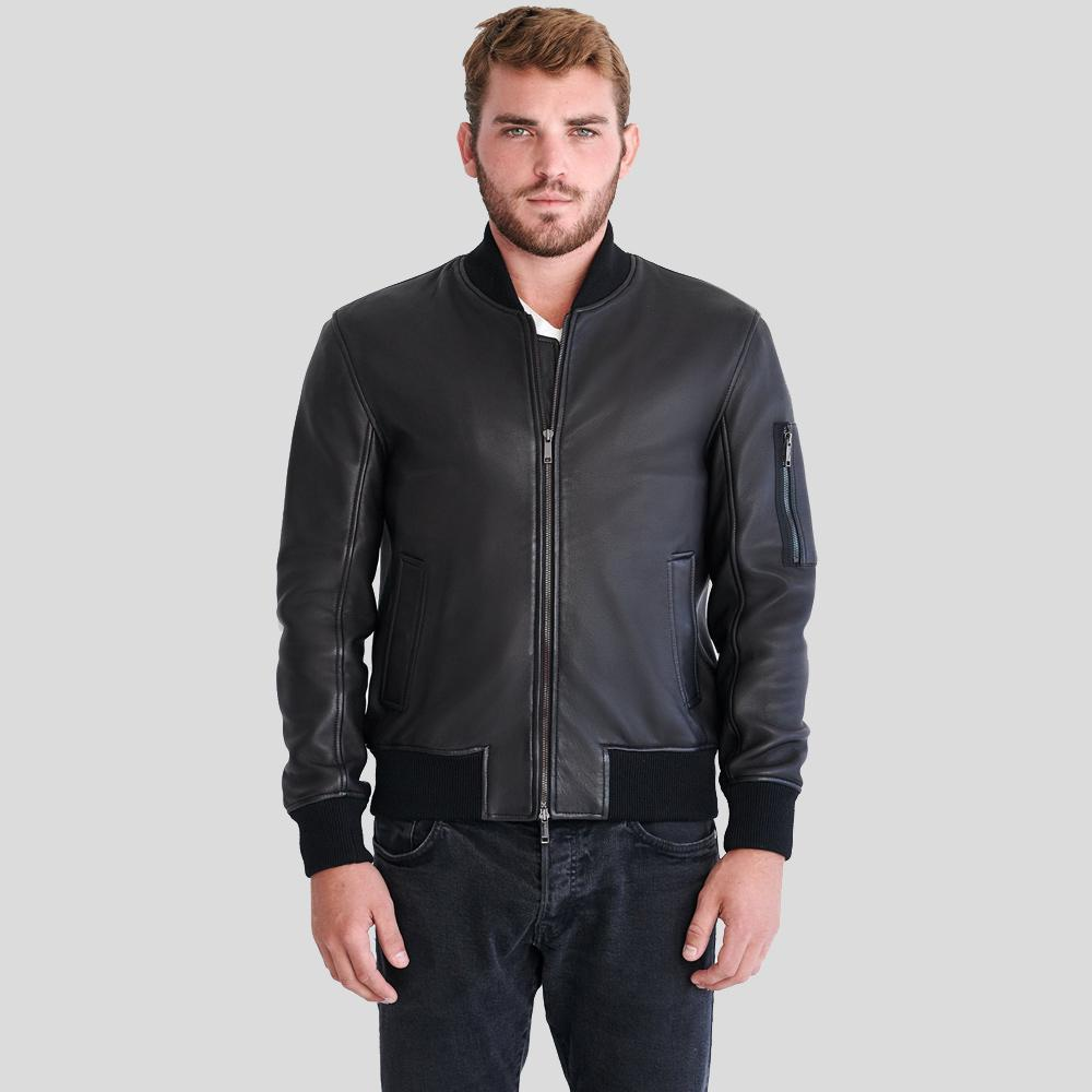 bomber leather jacket parker black 1