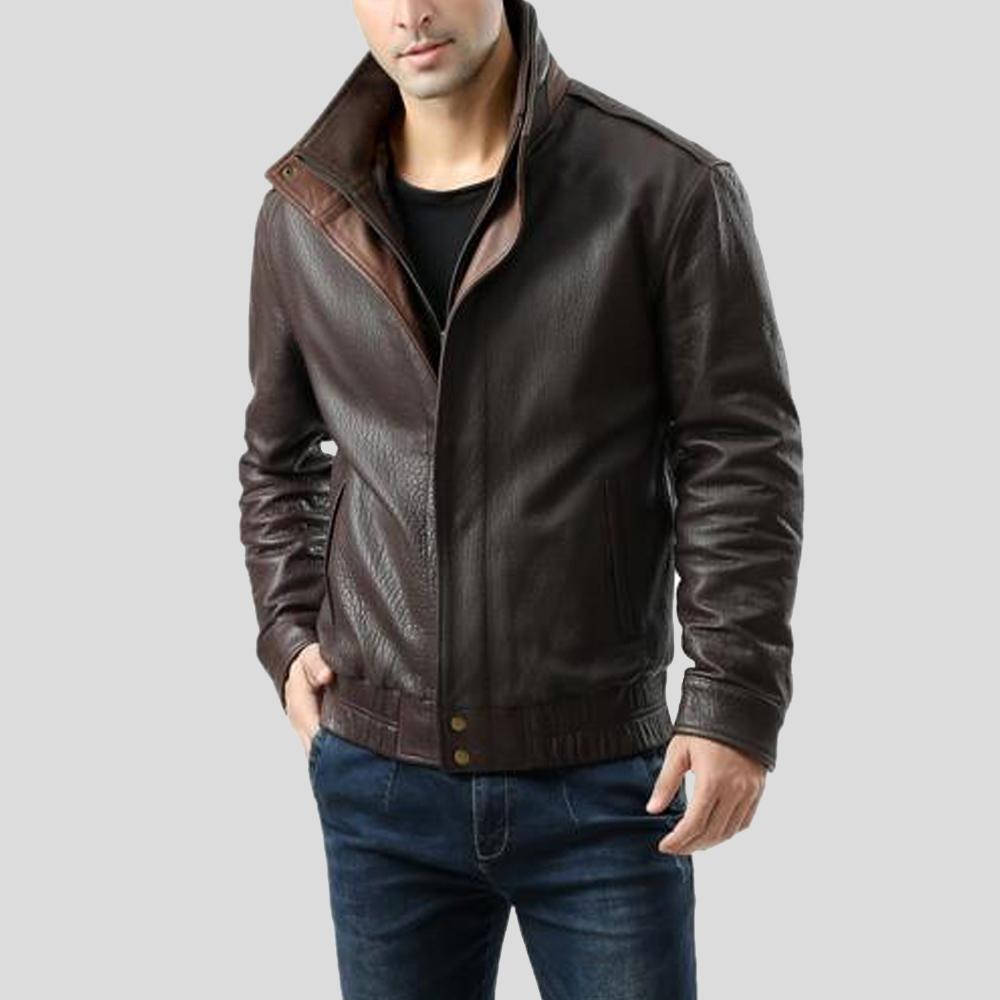 brown bomber leather jacket jesse mens 1