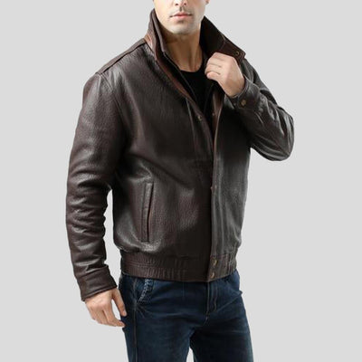 brown bomber leather jacket jesse mens 3