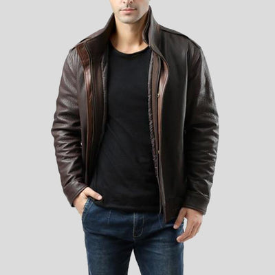 brown bomber leather jacket jesse mens 4
