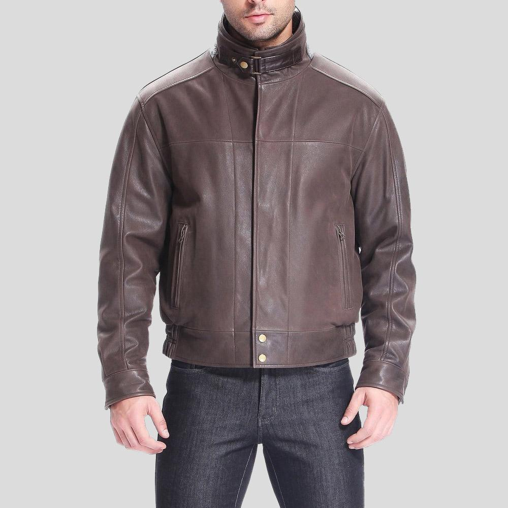 brown bomber leather jacket preston distressed mens 1