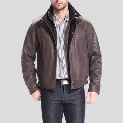 brown bomber leather jacket preston distressed mens 4