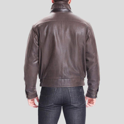 brown bomber leather jacket preston distressed mens 3