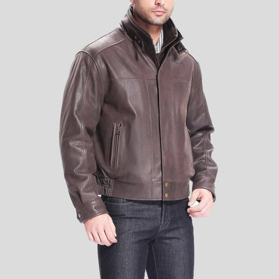 brown bomber leather jacket preston distressed mens 2