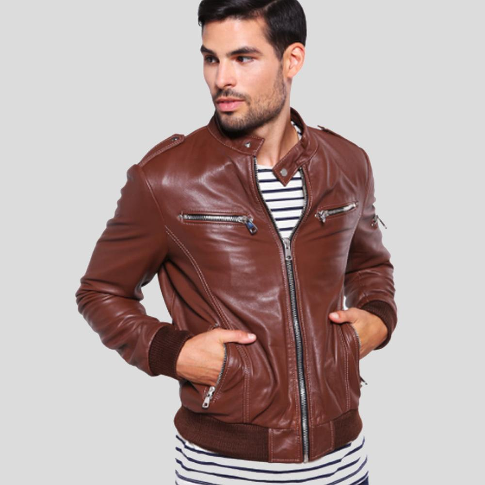 brown bomber leather jacket zane mens 1