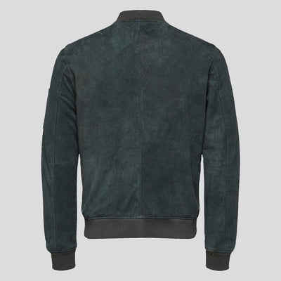 dark green suede bomber leather jacket miguel mens 4
