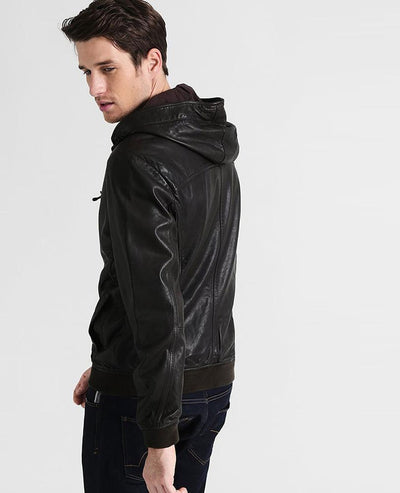 easton chet black hooded leather jacket 2