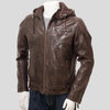 Erick Brown Removable Hooded Leather Jacket