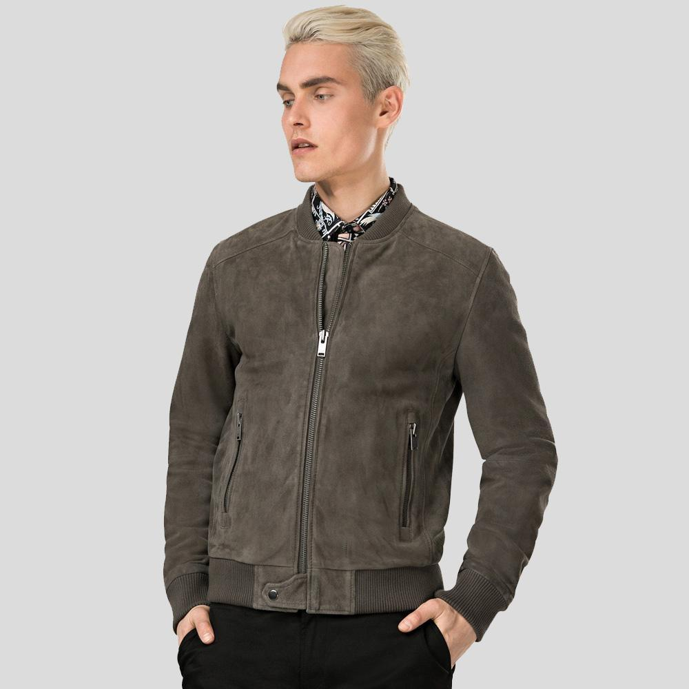 grey suede bomber leather jacket jude mens 1