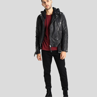 hooded leather jacket sean black 6