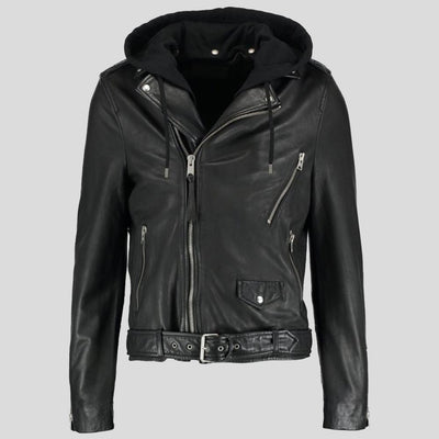 hooded leather jacket sean black 3
