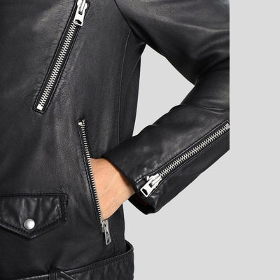 hooded leather jacket sean black 4