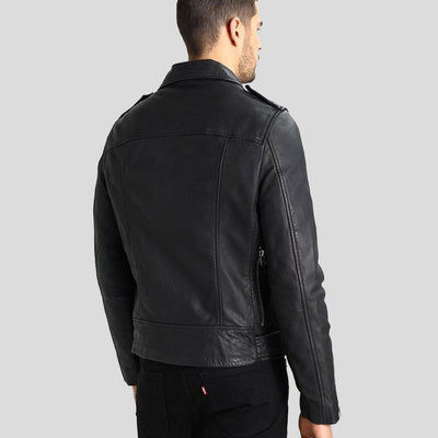 hooded leather jacket sean black 2
