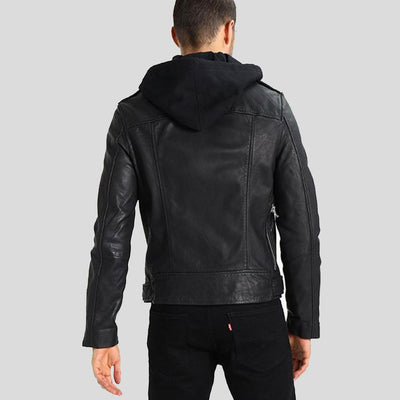 hooded leather jacket sean black 1