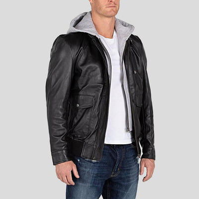 hooded leather jacket tanner black 2