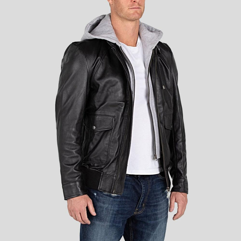 hooded leather jacket tanner black 1