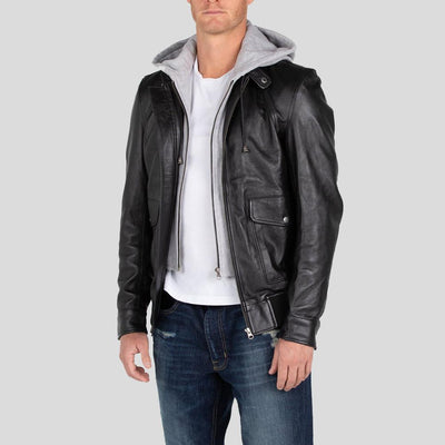 hooded leather jacket tanner black 3