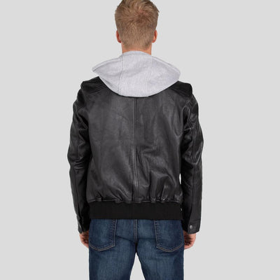 hooded leather jacket tanner black 4