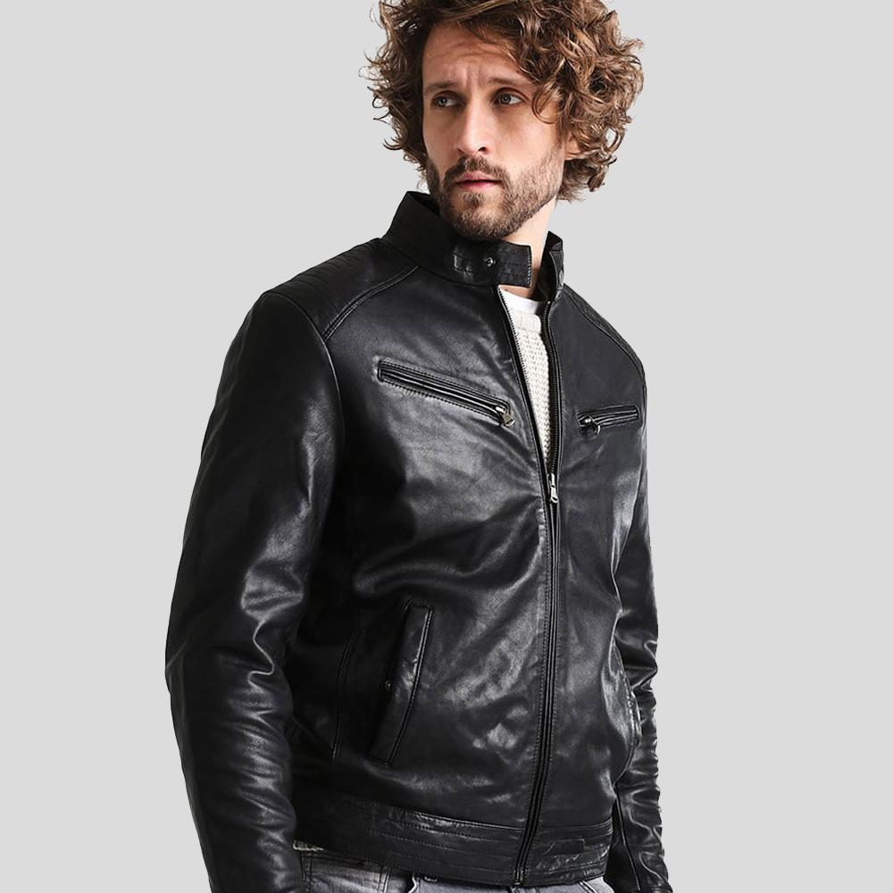 mens black leather racer jacket aidan 1
