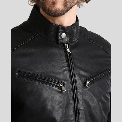 mens black leather racer jacket aidan 2