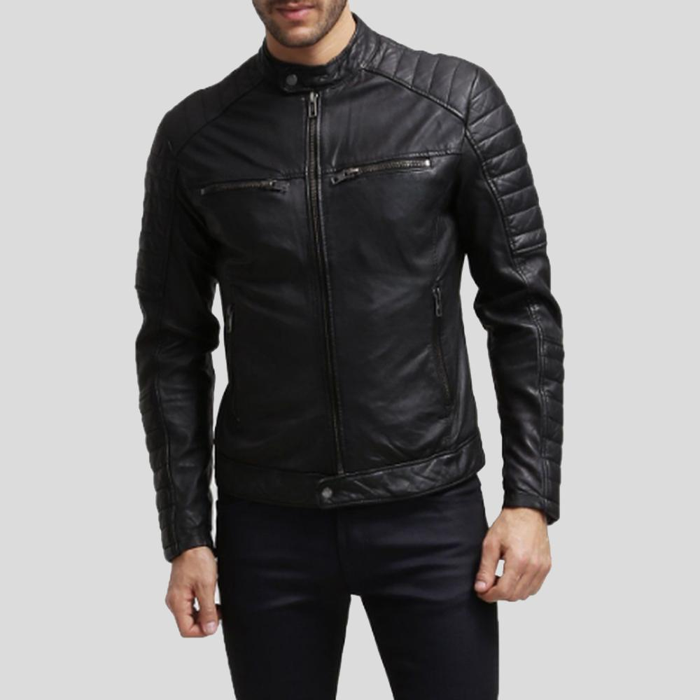 mens black leather racer jacket alejandro1