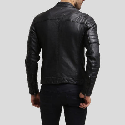 mens black leather racer jacket alejandro 2
