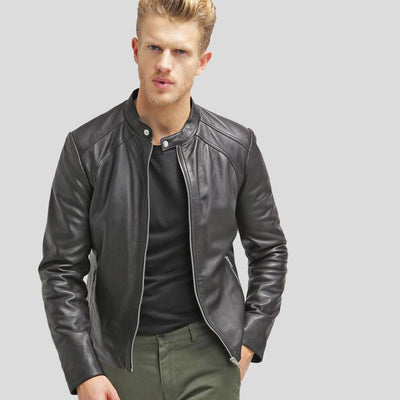 mens black leather racer jacket bryan 1