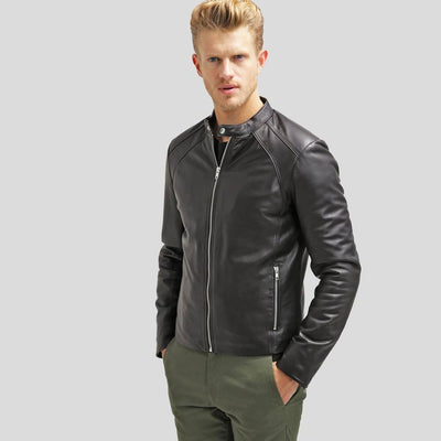 mens black leather racer jacket bryan 2