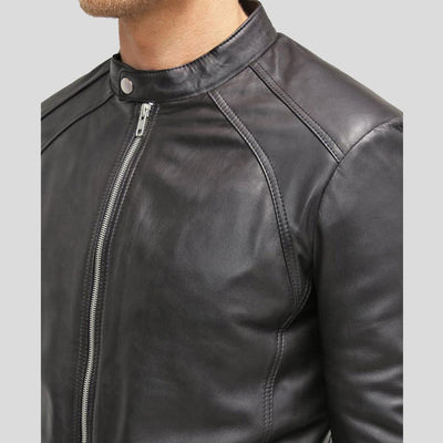 mens black leather racer jacket bryan 4