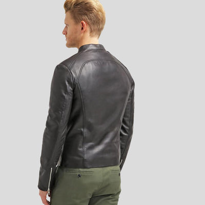 mens black leather racer jacket bryan 6