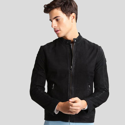 mens black leather racer jacket colin 1