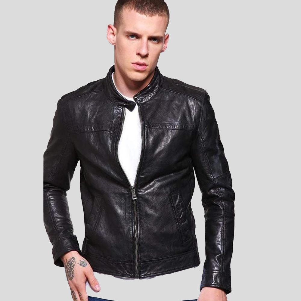 mens black leather racer jacket elliot 1