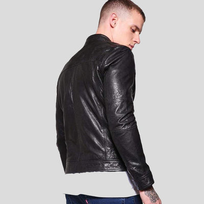 mens black leather racer jacket elliot 5