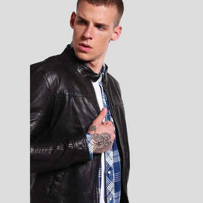 mens black leather racer jacket elliot 3