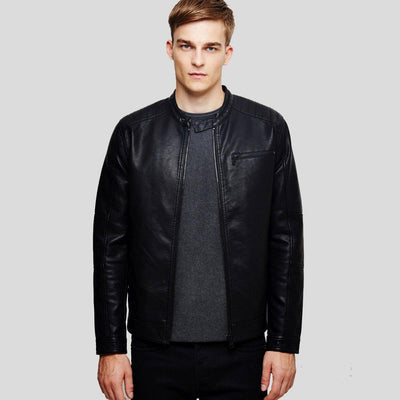 mens black leather racer jacket jeremy 1