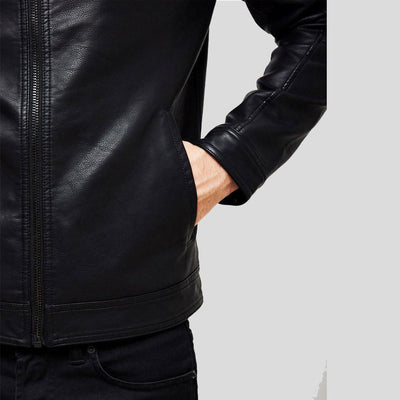 mens black leather racer jacket jeremy 3