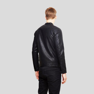 mens black leather racer jacket jeremy 5