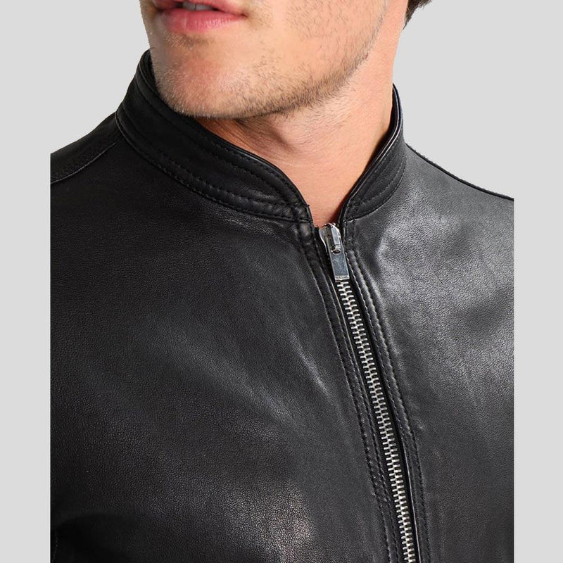 mens black leather racer jacket kaden 1