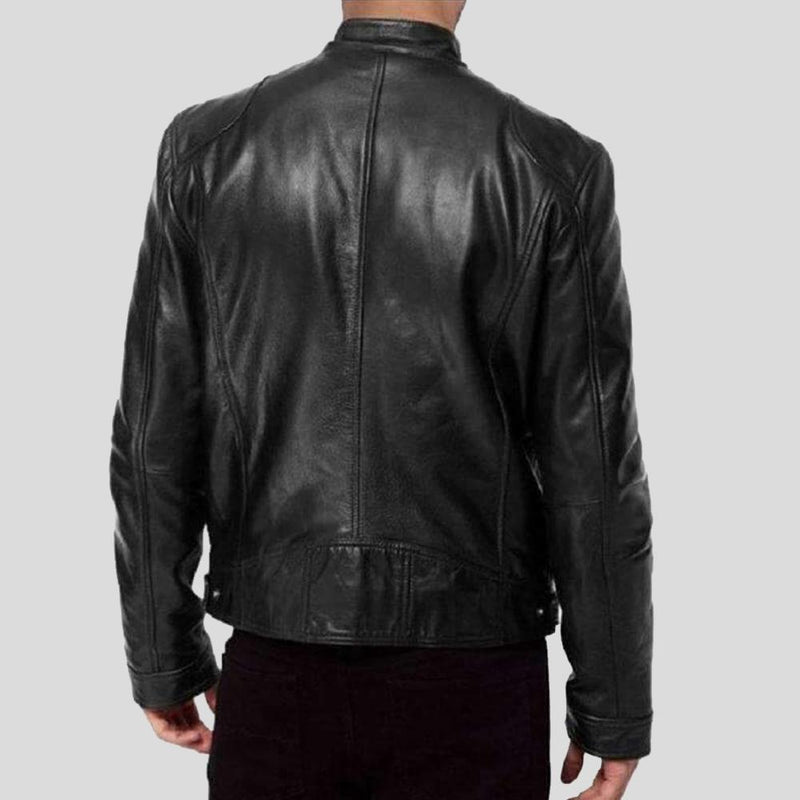 mens black leather racer jacket karter 1