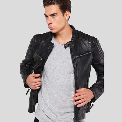 mens black leather racer jacket marcus 1