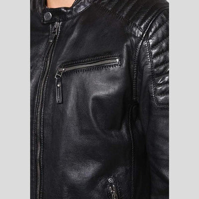 mens black leather racer jacket marcus 2