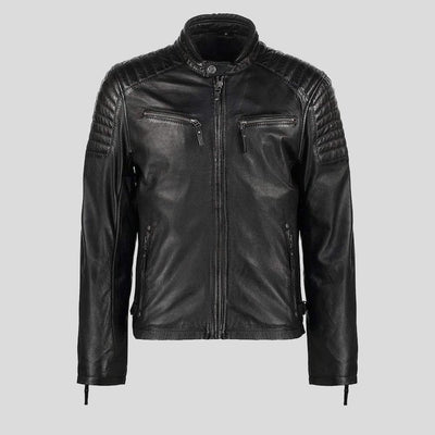 mens black leather racer jacket marcus 6
