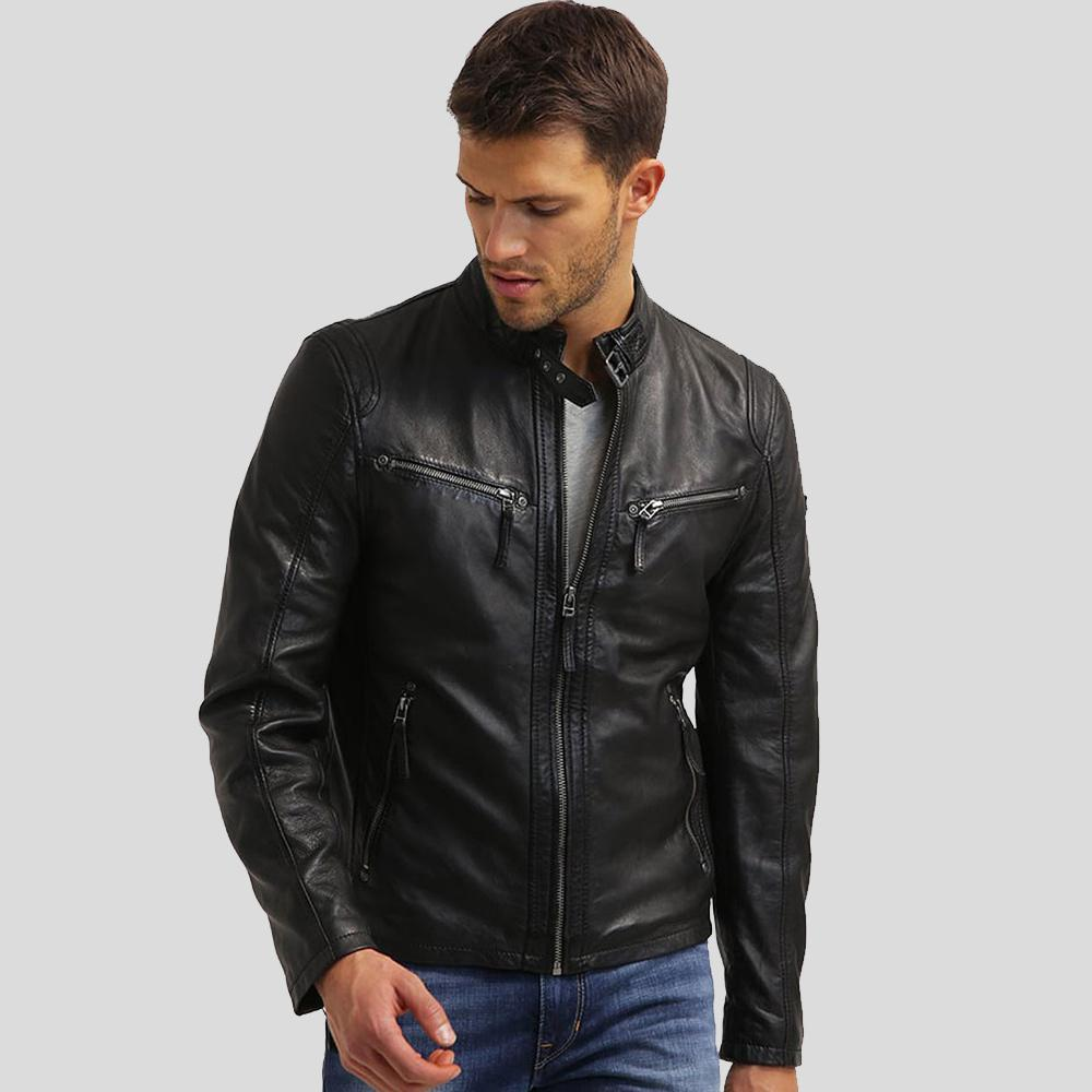 mens black leather racer jacket nicolas 1