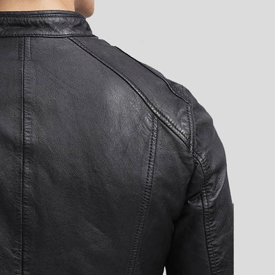 mens black leather racer jacket richard 4
