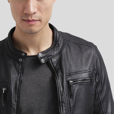 mens black leather racer jacket richard 3