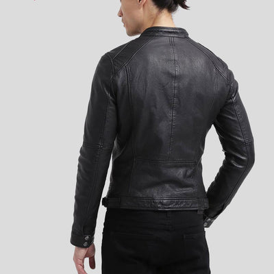 mens black leather racer jacket richard 2