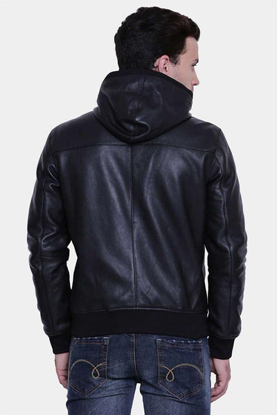 mens brooks black hooded leather jacket 4